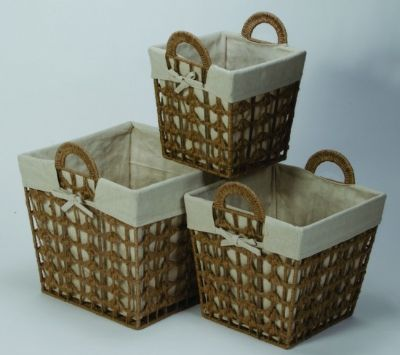linen and jute basket set