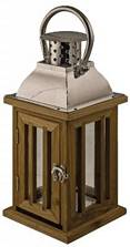 chrome and wood lantern